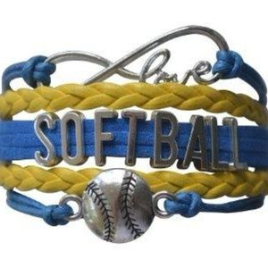 Girls Softball Bracelet - Blue & Yellow